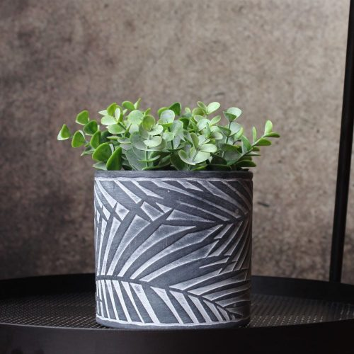 White Black Palm Leaf Concrete Pot Planter