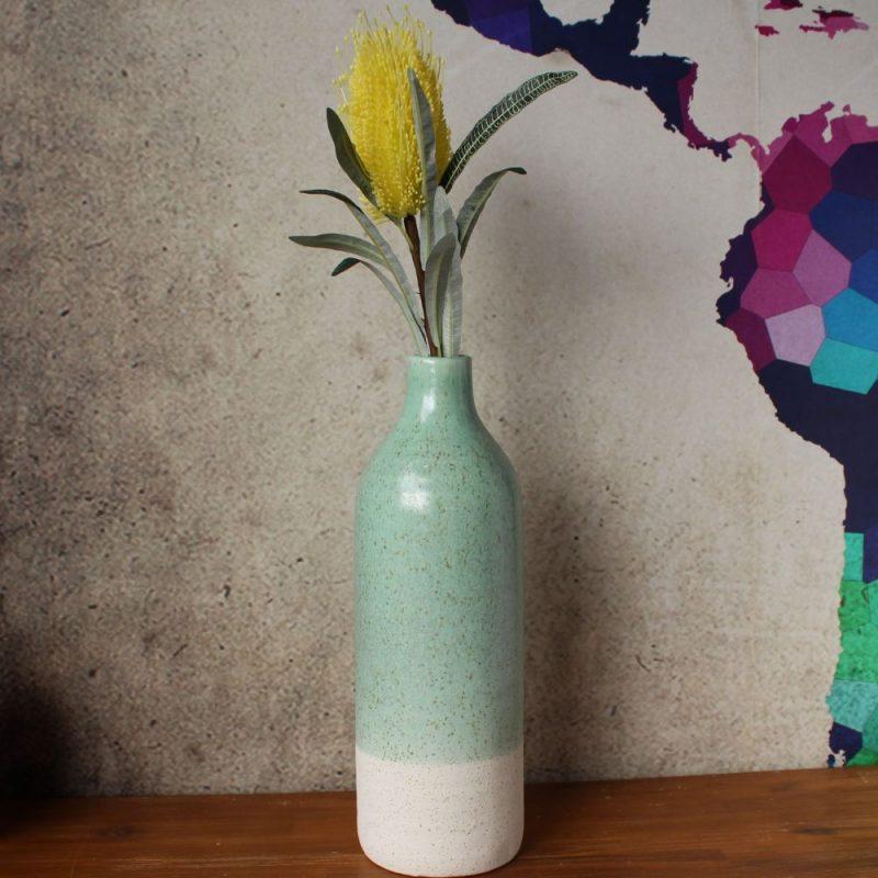 White Green Speckle Ceramic Floor Vase
