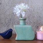 Zig Zag Crackle Aqua Bud Ceramic Flower Vase