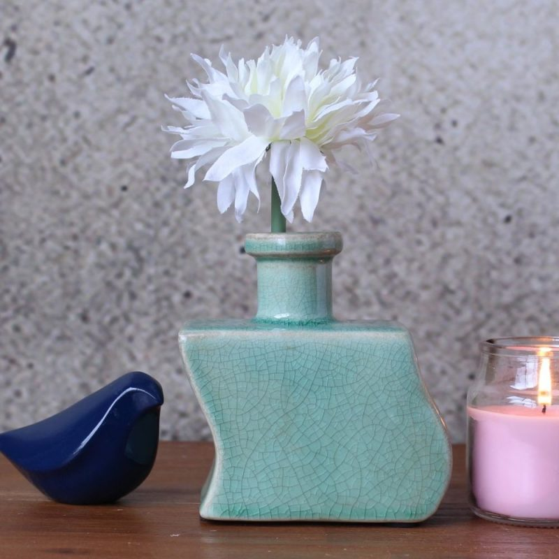 Zigzag Crackle Aqua Bud Vase
