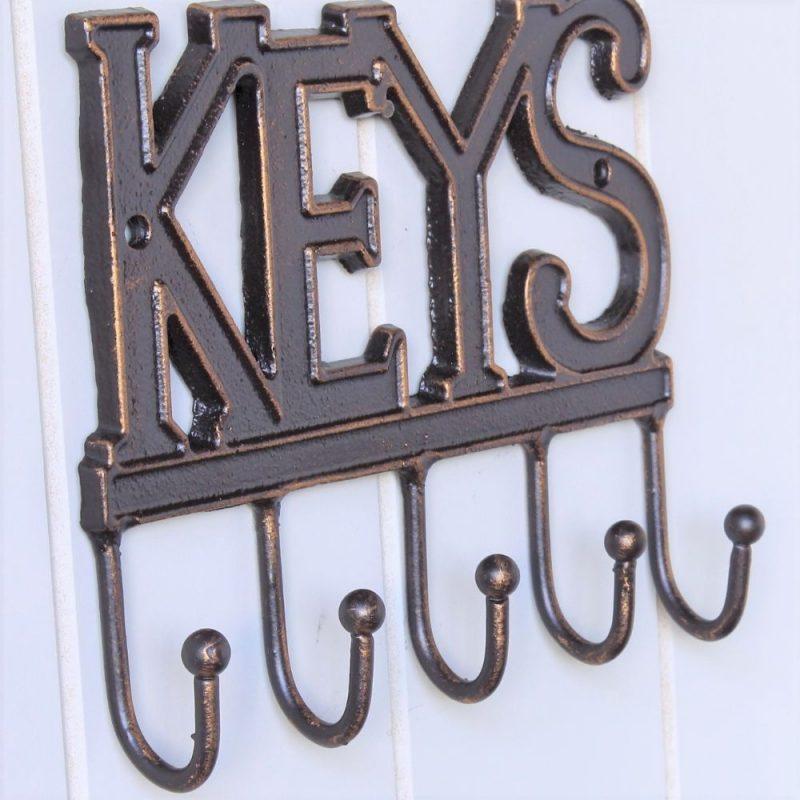 5 Hooks Rustic Metal Key Rack Holder
