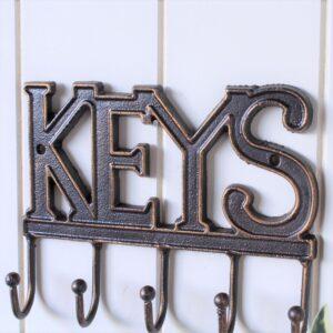 5 Hooks Rustic Iron Metal Key Rack Holder
