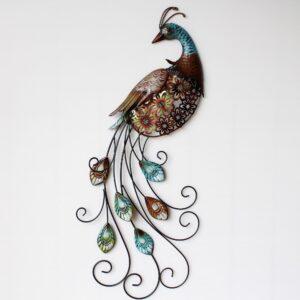 Aqua Blue Peacock Metal Wall Art