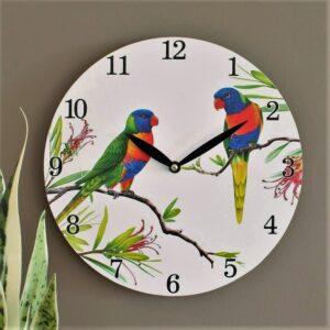Australian Lorikeet Wooden Wall Clock