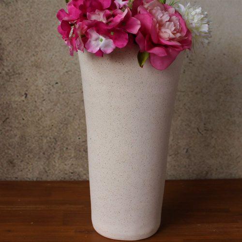 Beige & Turquoise Sand Textured Tall Ceramic Vase