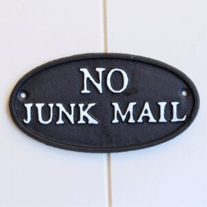 Cast Iron No Junk Mail Sign Ornament