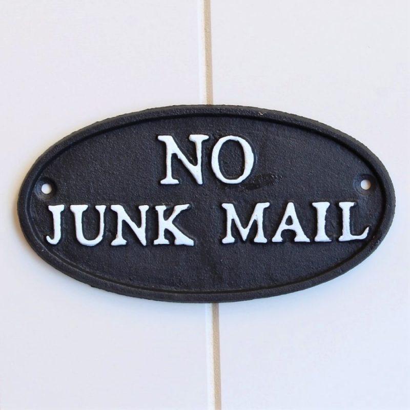 Cast Iron No Junk Mail Sign Ornament