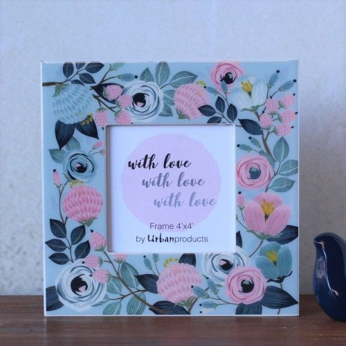 Sky Blue Floral Photo Frame