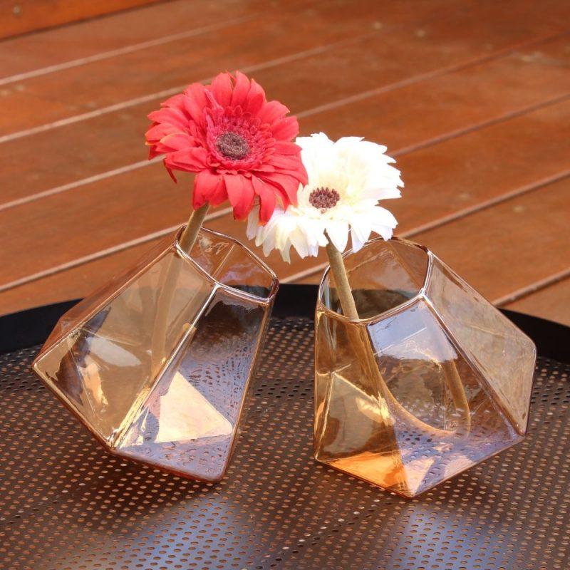 Set of 2 Geometric Bud Vases