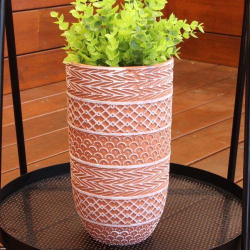 Tribal Pattern Teracotta Vase Planter