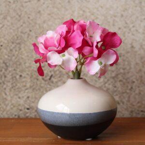 White & Black Glazed Ceramic Bud Vase