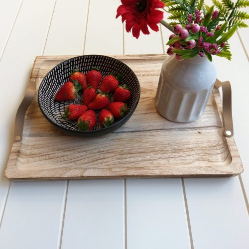 Wood Serving Tray With Leather Handles (3)