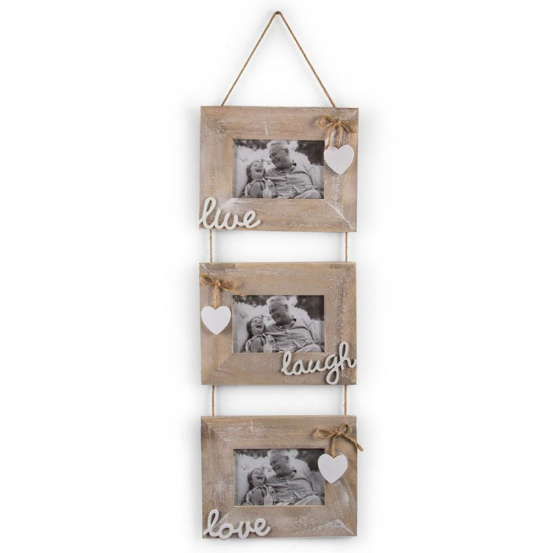 3 In 1 Live Laugh Love Wooden Multi Photo Frame
