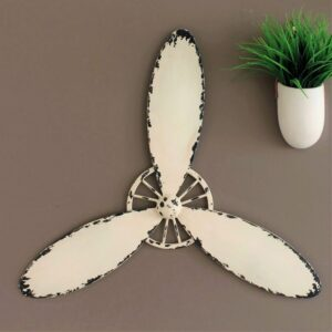 Airplane Propeller Off White Metal Wall Art