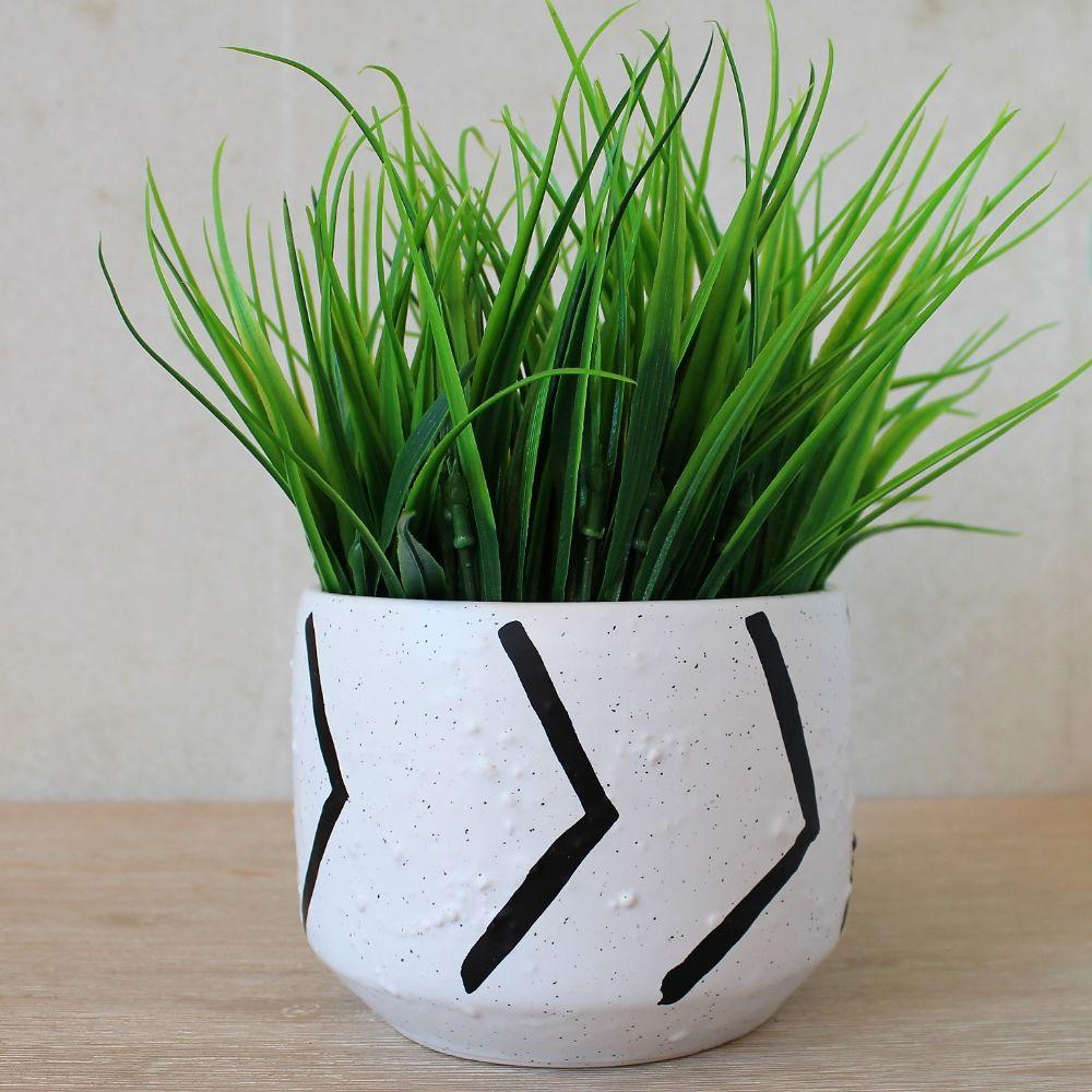 Planter Terracotta Pot Home Pot Aztec Indoor White Outdoor