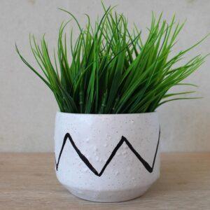 Black & White Tribal Terracotta Pot Planter