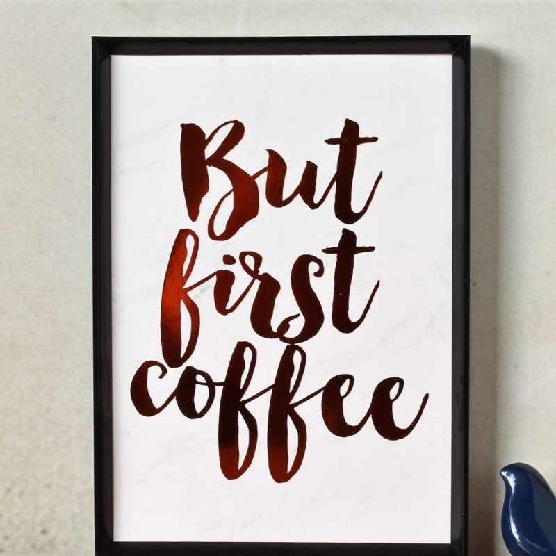 But First Coffee Copper Foil Marble Art Print