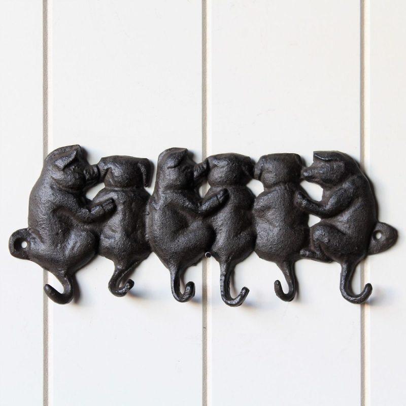 Cast Iron Piggy Key Holder With 6 Hooks