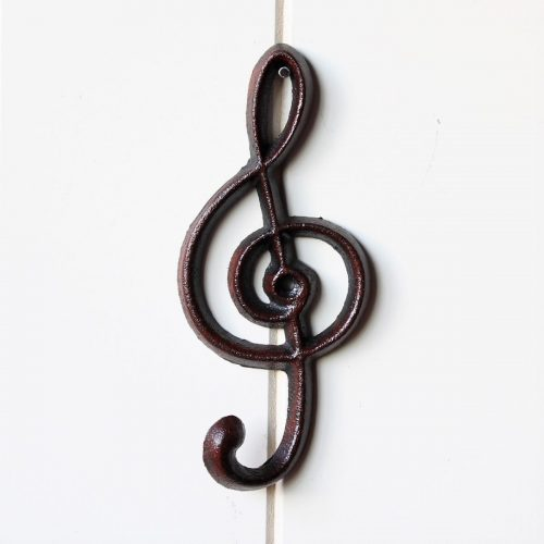 Cast Iron Treble Clef Key Holder With 1 Hook