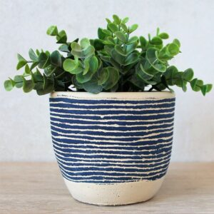 Coastal Blue Concrete Pot Planter