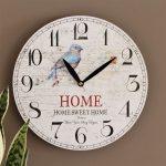 Hamptons Blue Bird Wooden Wall Clock 28.8cm