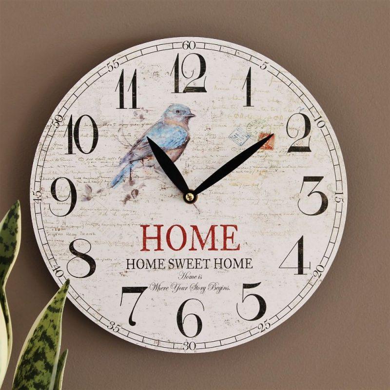 Hamptons Blue Bird Wooden Wall Clock
