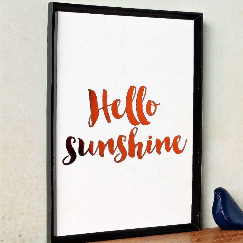 Hello Sunshine Copper Foil Marble Art Print