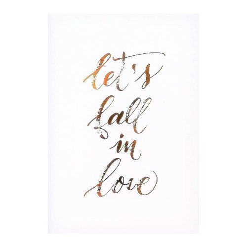 Lets Fall In Love Gold Foil Art Print