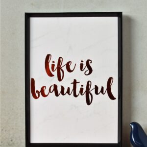 Life Is Beautiful Copper Foil Marble Art Print