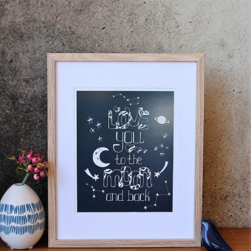 Love you to moon and back A4 Wall Art Print