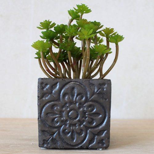 Moroccan Black Quartrefoil Concrete Pot Planter