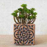 Moroccan Brown Quatrefoil Pattern Concrete Pot Planter