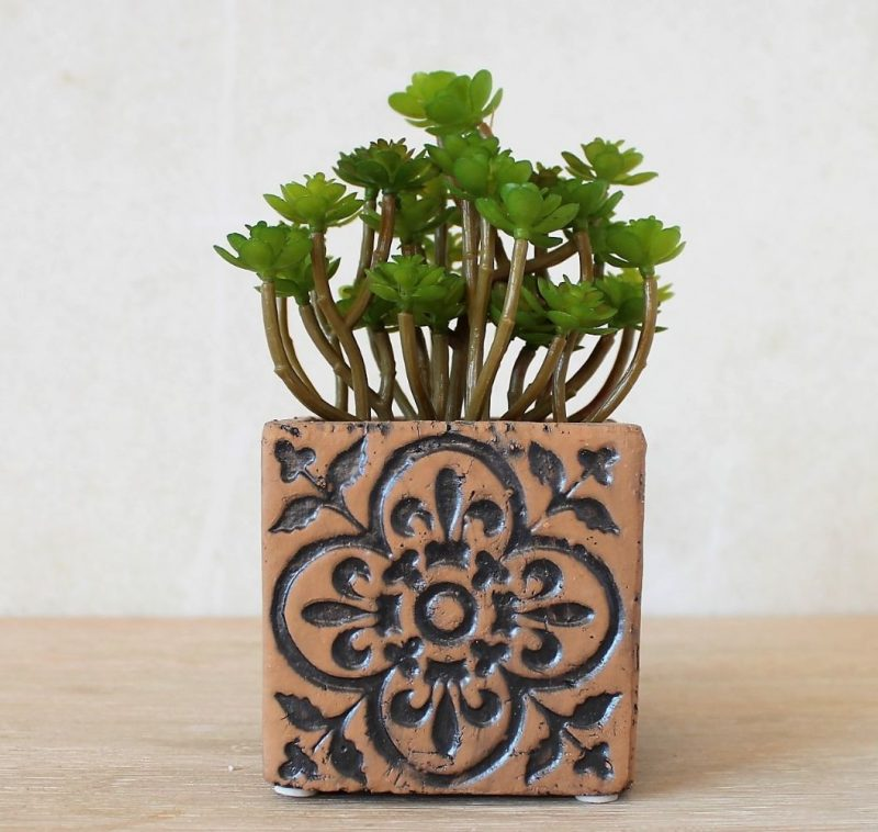 Moroccan Brown Quatrefoil Pattern Concrete Pot Planter