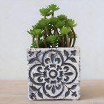 Moroccan White Quartrefoil Concrete Pot Planter