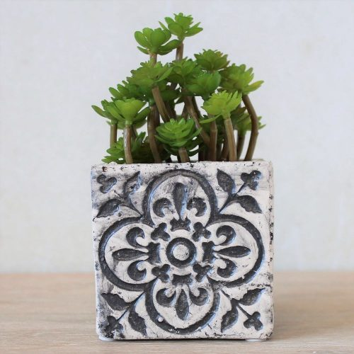 Moroccan White Quartrefoil Concrete Pot Planter