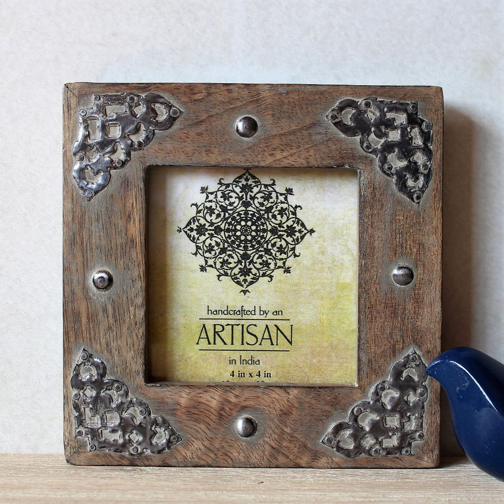 Natural Pressed Tin Wooden Square Photo Frame Dalisay