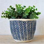 Navy Blue & Cream Tribal Concrete Pot Planter