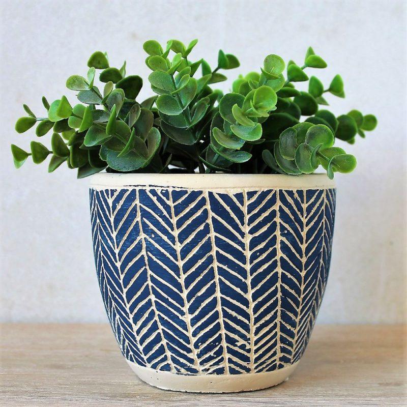 Navy Blue & Cream Tribal Concrete Pot Planter