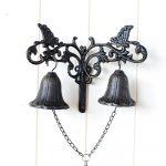 Vintage Scroll Cast Iron Double Door Bell