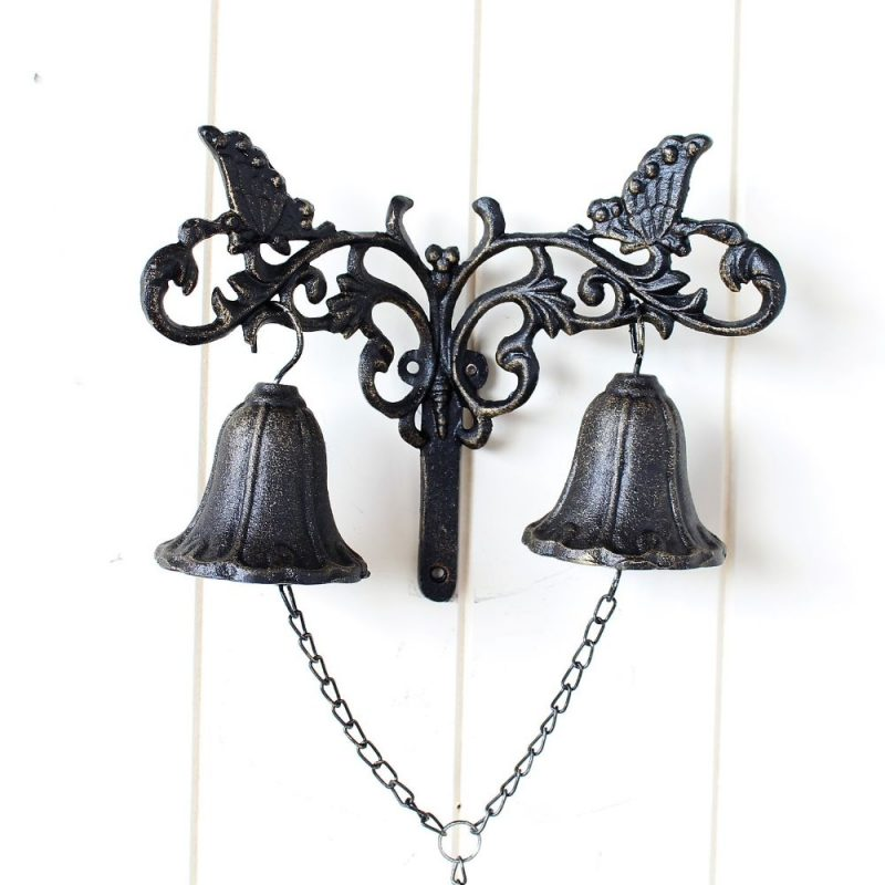 Rustic Cast Iron Double Door Bell