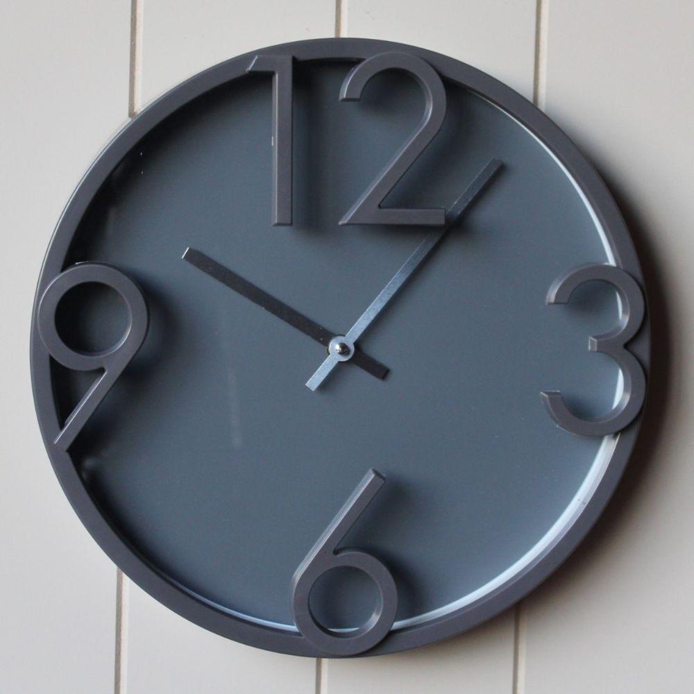 Scandi Grey Large Numbers Wall Clock 30cm Dalisay
