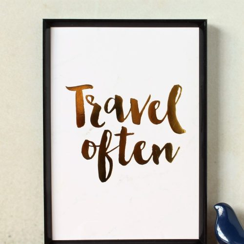 Travel Often Gold Foil Marble Art Print