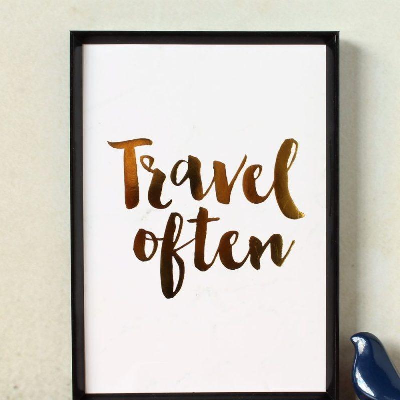 Travel Often Gold Foil Marble Art Print