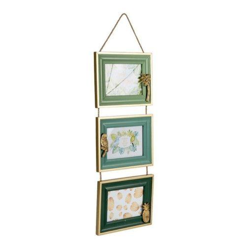 Triple Hanging Tropical Green Wood Photo Frame