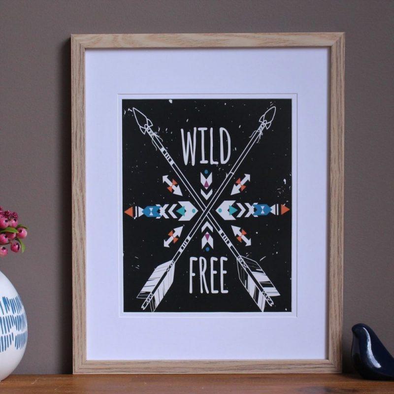 Wild & Free Black Wall Art Print