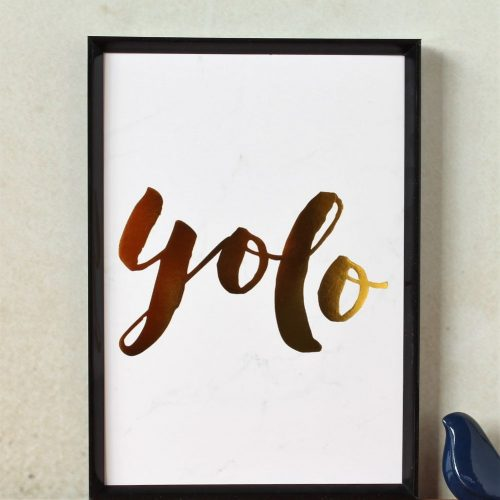 YOLO Gold Foil Marble Art Print