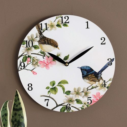 Australian Blue Wren Bird Wooden Wall Clock
