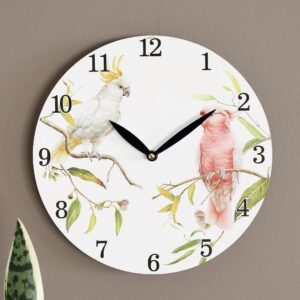 Australian Galah Cockatoo Bird Wooden Wall Clock