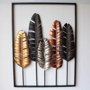 Bird Feathers Framed Metal Wall Art