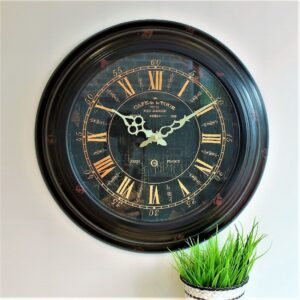 Black Gold Distressed Vintage Iron Wall Clock